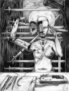 "Art By: Sara Witty-""razor my saviour (or how i learned to love trepanning)"", 2002. © 2002"