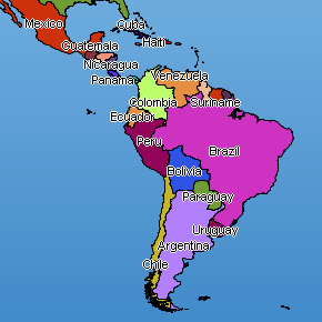 South America Map By Country - Latin america labeled map