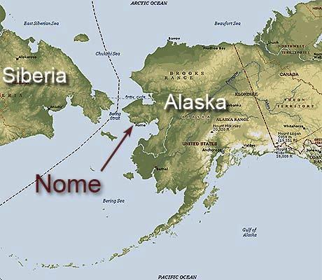 From Russia With Love To Nome - Alaska map russia