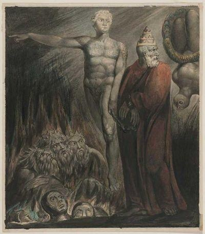 Lucifer and The Pope in Hell-Blake William